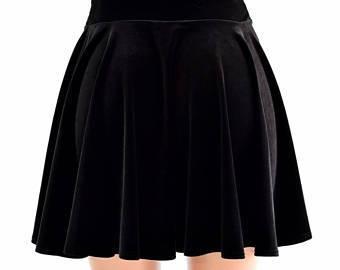 Black Crushed Velvet Circle Skirt