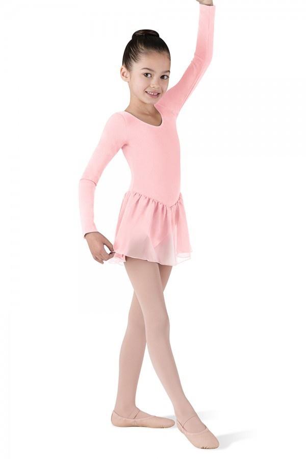 CL5309 Long Sleeve Girls Leotard With Chiffon Skirt (Petal)