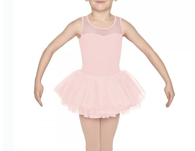 M1073C Girls Diamonte Bow Back Tank Tutu Leotard