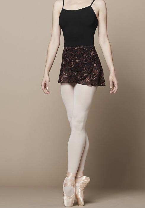 R9821B Printed Mesh Wrap Skirt